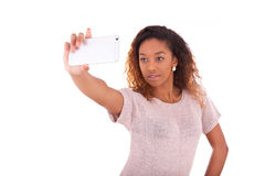 Young African American woman taking a selfie - self portrait  Stock Photos