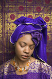 Young African American Woman in Traditional Africa Royalty Free Stock Photography