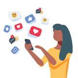 Young african-american woman using a smartphone with many social media heart like icons. Woman getting likes vector illustration