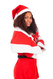 Young African American woman wearing à santa hat Royalty Free Stock Photography