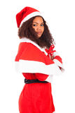 Young African American woman wearing à santa hat Stock Photo