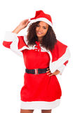 Young African American woman wearing à santa hat Stock Photography