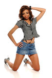Young African American Woman wearing a mini skirt Stock Photos