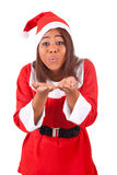 Young African American woman wearing a santa hat. Isolated Stock Image