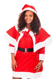 Young African American woman wearing à santa hat Stock Photos