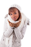 Young african american woman wearing winter clothes Royalty Free Stock Image