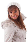 Young african american woman wearing winter clothes Stock Photo