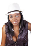 Young African American Woman White Hat Vest Royalty Free Stock Photography