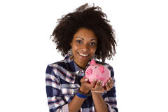 Young African American Woman With Piggy Bank Royalty Free Stock Image