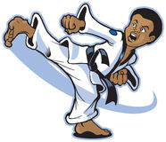 A Young African Boy Martial Artist Executing a Kic. Vector cartoon of a young African boy martial artist executing a spinning back kick stock illustration