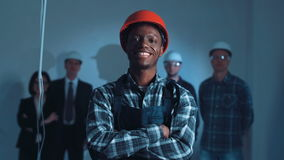 Young african builder on a site stock video