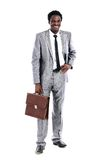 Young african businessman with briefcase Royalty Free Stock Image