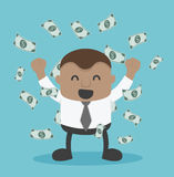 Young African Businessman success and there is plenty of money royalty free illustration
