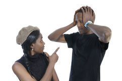 Young african couple quarreling Royalty Free Stock Images
