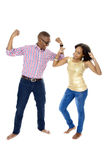Young African Couple Showing Off Their Muscles Royalty Free Stock Image