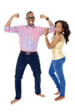 Young African Couple Showing Off Their Muscles Stock Photos