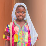 Young African girl posing at Expo 2015 in Milan, Italy Royalty Free Stock Image