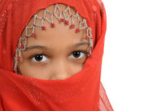 Young african girl wearing a red scarf Royalty Free Stock Photos