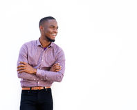 Young african guy looking away and smiling Royalty Free Stock Photos