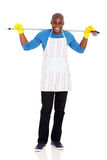 Young african man broom Stock Image