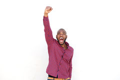 Free Young African Man Celebrating With Arms Raised On White Background Royalty Free Stock Images - 90347009