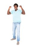 Young African Man Enjoying His Success Royalty Free Stock Images
