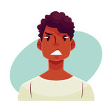 Young african man face, upset, confused facial expression royalty free illustration
