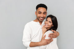 Young african man hugging woman Royalty Free Stock Photography