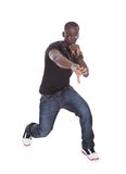 Young African Man Singing. Portrait Of Young African Man Singing On White Background Stock Image