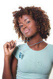 Young African with necklace. Young African woman with necklace Royalty Free Stock Photo