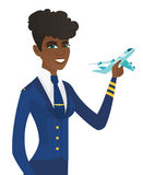 Young african stewardess with model of airplane. vector illustration
