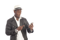 Young african using phone Stock Photography