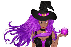 Young african witch in hat with magic ball in hand. Vector Illustration young african american witch in a hat with a magic ball in hand. The character for the royalty free illustration