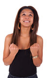 Young african woman black in background white Stock Photos