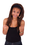 Young african woman black in background white Royalty Free Stock Image
