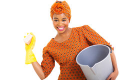 Young african woman cleaning Stock Photography