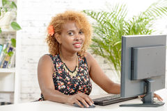 A young African woman  with a computer Stock Photos