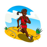 Young african woman cross country runner Stock Images