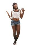 Young african woman dancing hip-hop royalty free stock images