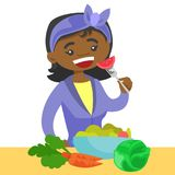 Young african woman eating healthy vegetable salad. Happy african-american woman eating a healthy vegetable salad. Young woman enjoying a fresh vegetable salad stock illustration