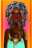 Young african woman. With exotic flower on her head vector illustration