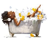 Free Young African Woman In Bath Stock Photos - 137209073