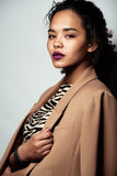 Young african woman. In jacket with zebra print Royalty Free Stock Photo