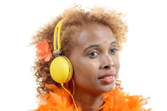 A young African woman listening to music Royalty Free Stock Photos