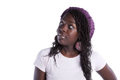 Young african woman looking up. Beautiful african woman looking to the copy space (isolated on white Royalty Free Stock Photos