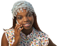 Young African woman on mobile phone Royalty Free Stock Images