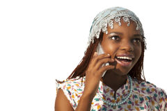 Young African woman on mobile phone Royalty Free Stock Photo