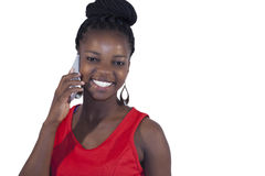 Young African woman on mobile phone Stock Photo
