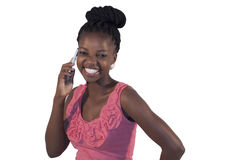 Young African woman on mobile phone Stock Photography