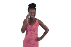 Young African woman on mobile phone Stock Photos